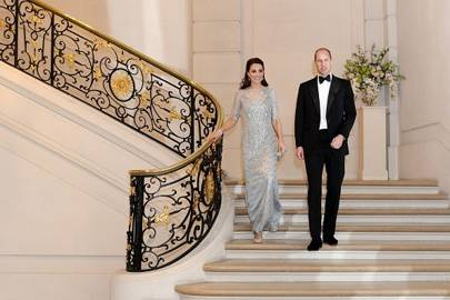 The Duke and Duchess arrive at the dinner thrown in their honour at the UK Embassy in Paris