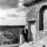 Dior on the terrace of the Château de la Colle Noire in the South of France.
