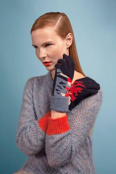 Cashmere intarsia gloves, £65