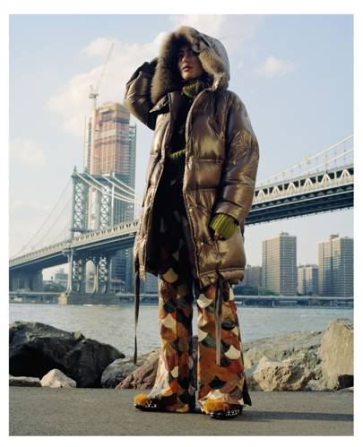 Nepalese jewellery designer Arpana Rayamajhi heads out to Dumbo to take in the Manhattan skyline in a Moncler Escallonia coat, £1,505.