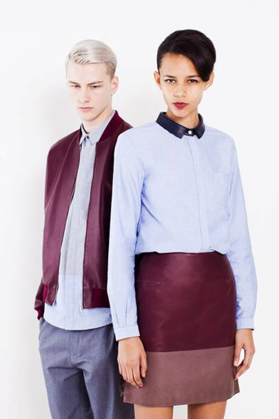 Contrast collar shirt, £240; leather skirt, £635