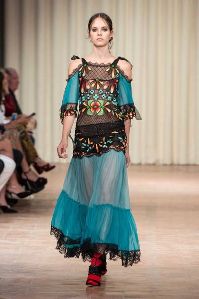 A look from Alberta Ferretti's Spring/Summer 2017 collection, embroidered in Mumbai by Chanakya