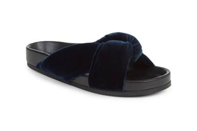 Slip into Chloé's velvet sandals in midnight blue for a touch of luxury and a ton of comfort