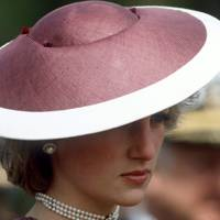 Diana, Princess Of Wales, wearing a Frederick Fox hat, April 1985
