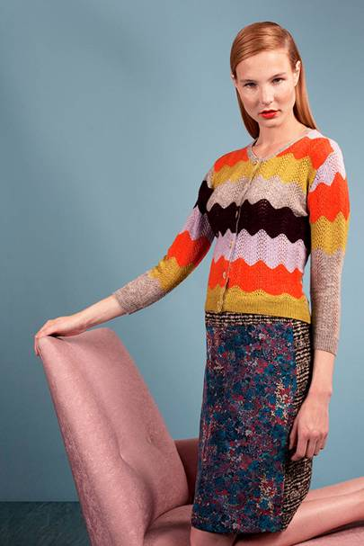Cashmere wave knit cardigan, £395; tweed and silk pencil skirt, £195