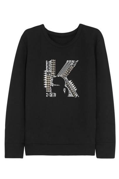 Black sweatshirt with K logo, £200