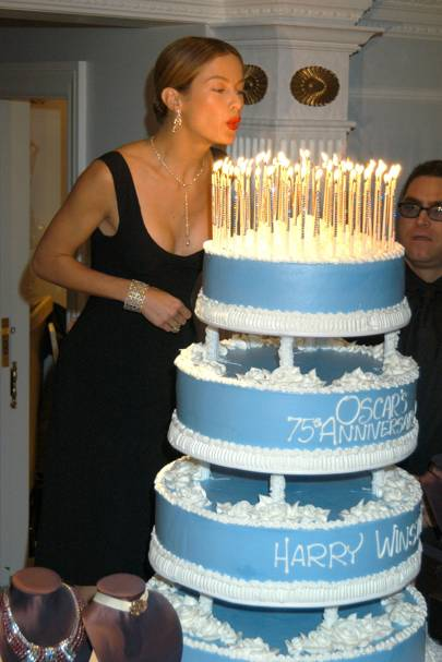 Blowing out Oscar's candles in 2003
