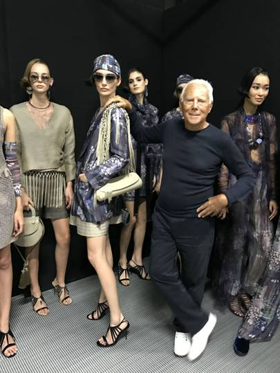 Giorgio Armani with his 'Charm' collection.