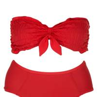 Red ruched bikini set, £40