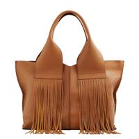 Mango fringed leather shopper