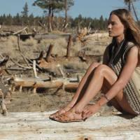 Suede gilet, £295; brown sandals, £24