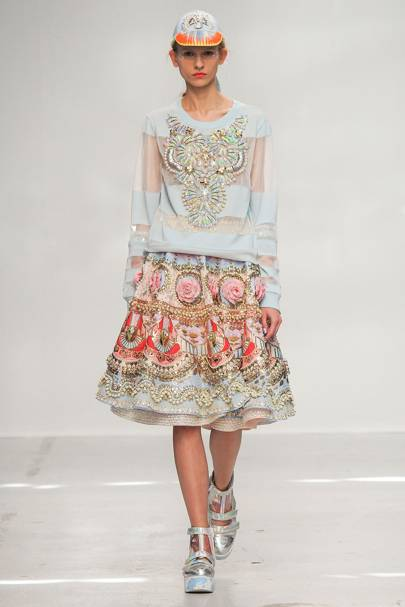 This look from Manish Arora's Spring/Summer 2015 is on display at Fabric of India using original embroidery techniques on current fashion