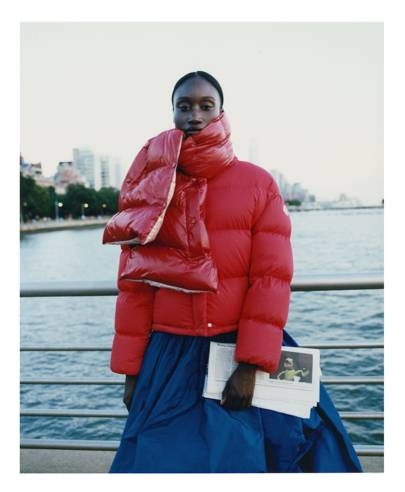 9533b72a5e8 Amy Sall, founder of Sunu journal, puts primary colours on full display,  pairing her candy-apple red Moncler Paeonia jacket, £1,040, with the Moncler  scarf ...