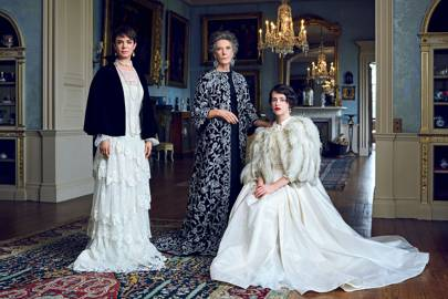 """""""Being royal is no privilege,"""" says Eileen Atkins, centre, as Queen Mary, wearing a Ralph Russo coat, Merola earrings and Mikimoto necklace, with Victoria Hamilton (the Queen Mother), seen here in an Alberta Ferretti evening dress, and Claire Foy (the Queen) in a vintage feather jacket from Mairead Lewin and pearl and diamond Chopard earrings. """"They are constantly on, they cannot ever slip off their shoes in public."""""""