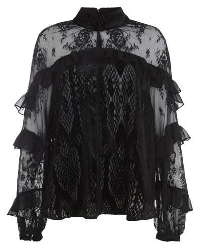 Black velvet frill blouse, £38: