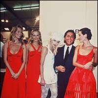 Claudia Schiffer, Karen Mulder and Christy Turlington with Valentino Garavani and actress Sharon Stone