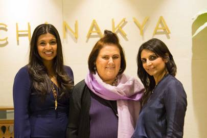 Suzy with Karishma Swali (right) and Monica Shah (left), directors at the Shah's family-run firm, Chanakya, in Mumbai. Karishma and Monica also have their own fashion label, Jade