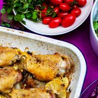 Roast Chicken with Onions, Fennel and Lemon