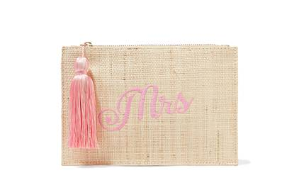 Kayu: embroidered straw pouch