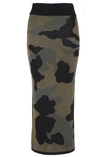 Camouflage maxi skirt, £40