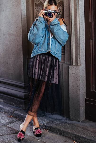 7. Slip An Oversized Denim Jacket On Top Of Tulle