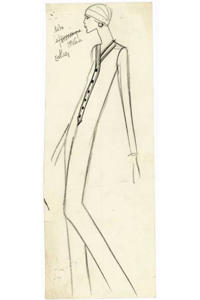 An original sketch of a women's jumpsuit by Saint Laurent, Yves Saint Laurent Haute Couture, Autumn/Winter 1969