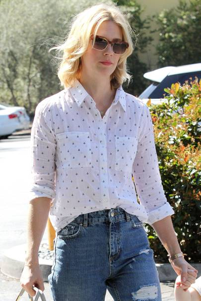 January Jones Wearing A Rails Shirt
