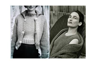 05270ed26bab Left, Maison Martin Margiela, A W 1994-1995. Photo  Marina Faust. Right, Hermès  A W 1999-2000  shawl-collar cardigan and sleeveless tunic pullover in ...