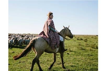 Gabriela herding sheep at her ranch in Uruguay