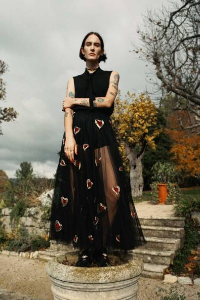 A Tarot-inspired embroidered chiffon dress by Maria Grazia Chiuri for Christian Dior Haute Couture, Spring/Summer 2017