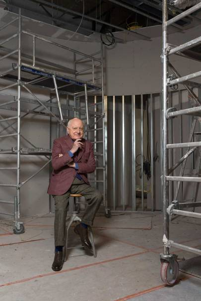 Pierre Bergé on the construction site of the Musée Yves Saint Laurent in Paris, 2017