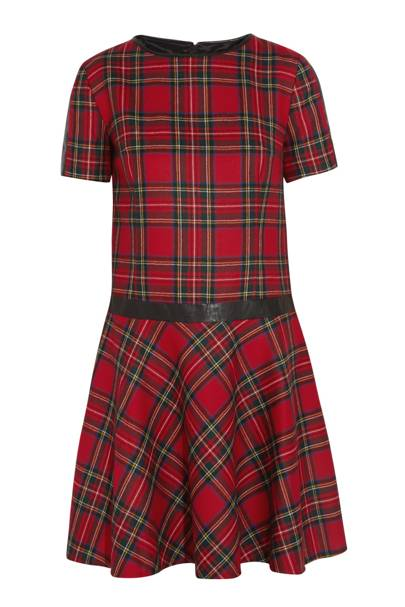 Leather trim tartan dress, £300