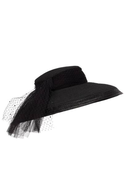 Wide-brimmed net hat, £110