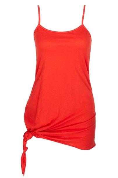 Red knotted cotton vest, £22