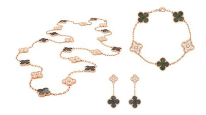 Van Cleef Arpels Pink Gold Alhambra Necklace Earrings And Bracelet With Grey Mother Of Pearl Diamonds