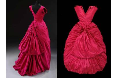 Front and back view of an evening dress in silk taffeta by Cristóbal Balenciaga, Paris, 1954