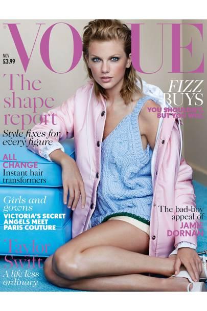 Taylor Swift wears nylon coat, £735. Nylon anorak, £360. Hand-knitted cashmere/wool tank, £1,100. Quilted nylon miniskirt, £460. Leather shoes, £515. All Miu Miu. Make-up: Val Garland. Hair: James Pecis. Fashion editor: Lucinda Chambers. Photographer: Mario Testino.