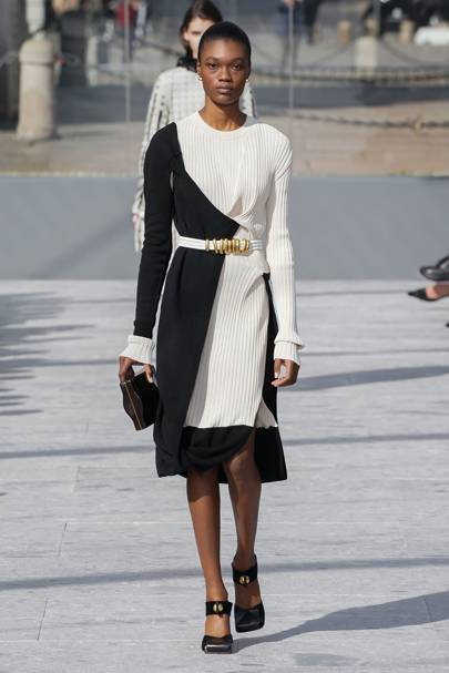 The new day-to-night dress is cinched and two-tone - ideally with a touch of blue