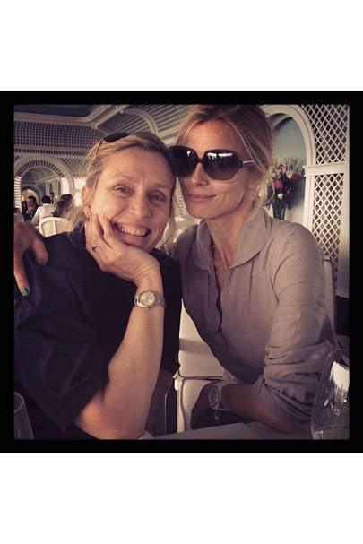 In cannes last week with my friend and hero Frances McDormand wearing my MiH boiler suit uniform.