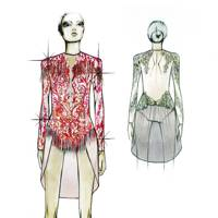 Julien Macdonald's womenswear ballet costumes sketch