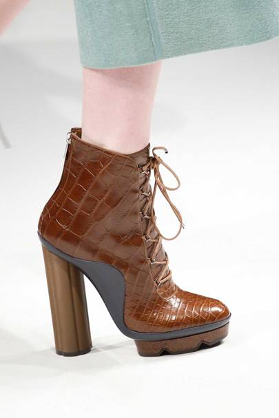 """Paul Andrew's first collection for Salvatore Ferragamo on the catwalk this February. This ankle boot from the Autumn/Winter 2017 collection has a hint of an """"F"""" in the sole, which represents Salvatore Ferragamo's signature"""